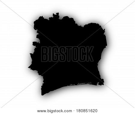 Map Of Ivory Coast With Shadow