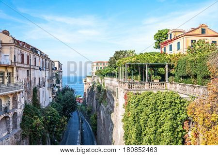 Italy Sorrento the garden of a luxury hotel seen from Tasso square