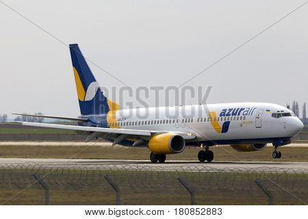 Borispol, Ukraine - March 25, 2017: Azur Air Ukraine Boeing 737-800 aircraft landing on the runway to Borispol International Airport on March 25, 2017. Editorial use only
