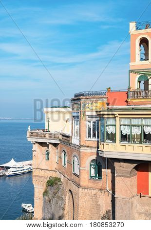 Sorrento Italy - November 15 2015: The bay seen from the country center with a luxury hotel on the right