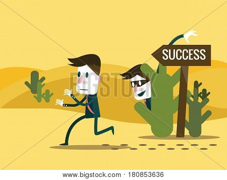 Envy Businessman change the road sign to wrong way. Business competition concept. flat character design. vector illustration