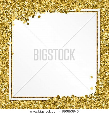 Glittering background with white banner and place for your message. Modern, gold template for VIP card, exclusive gift certificates, luxury voucher, presentation for shop.