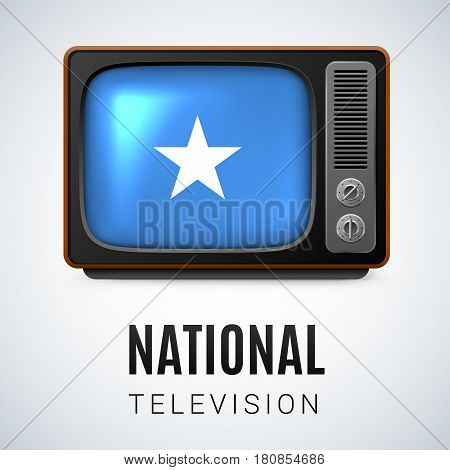 Vintage TV and Flag of Somalia as Symbol National Television. Button with Somalian flag