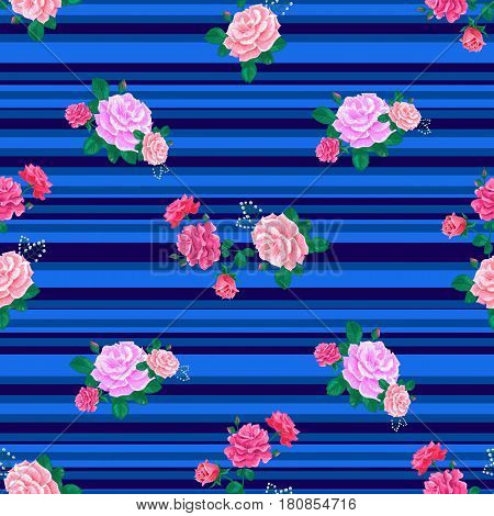Seamless pattern with pink beautiful roses and leaves on a blue striped background.Summer Vector illustration.Print for book covers, textile, fabric, wrapping paper, scrapbooking.