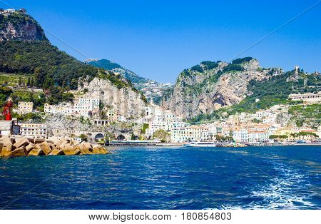 Italy Campania Amalfi the town seen from the sea