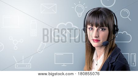 Young female telemarketer with white mixed media icons around her