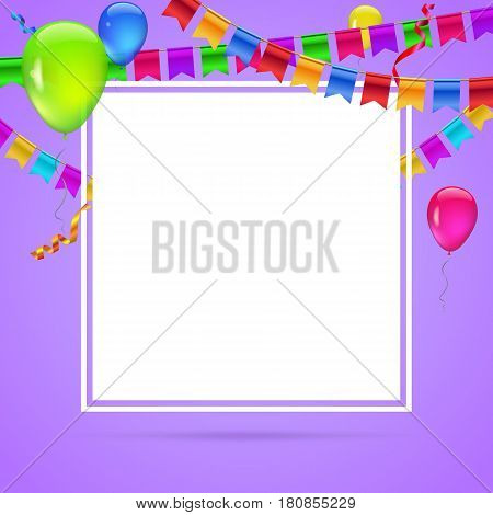 Celebrate colorful background. Template for greetings or birthday card, invitation with hanging garlands of colored flags and streamers and place for your text, 3D illustration