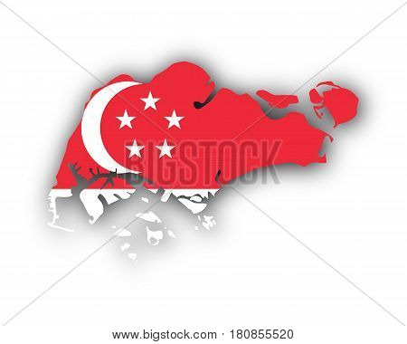Map And Flag Of Singapore