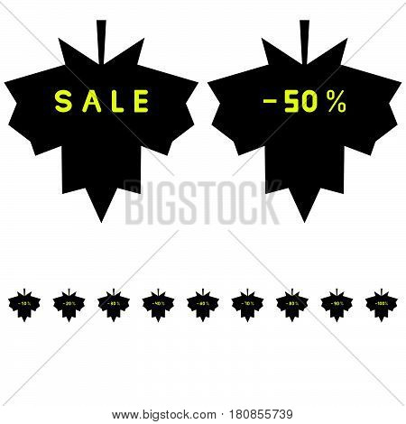 Leaf For Sale And Discount Icon.