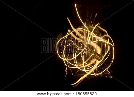 art of lighting of incandescent bulb. close up