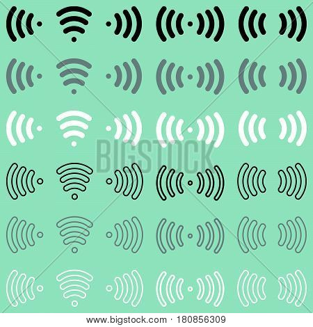 Radio Waves Wireless Radio Signal Icon.