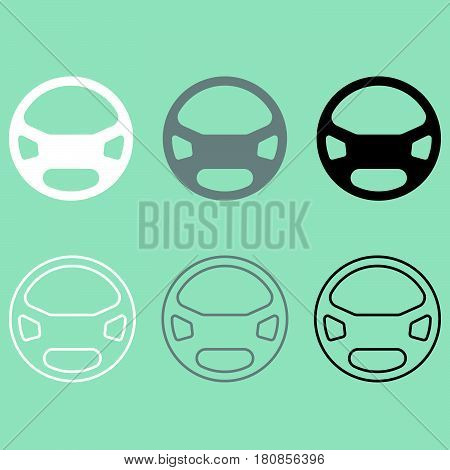 Rudder or steering wheel icon it is set.