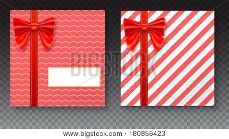Gift boxes with big red bow and ribbon, isolated on transparent background. Top view on gift packaged in a paper with pattern and copy-space place for your text