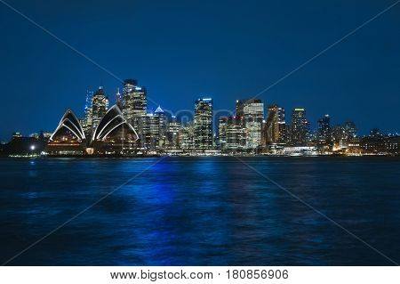 Sydney skyline in the evening after sunset