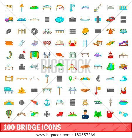 100 bridge icons set in cartoon style for any design vector illustration