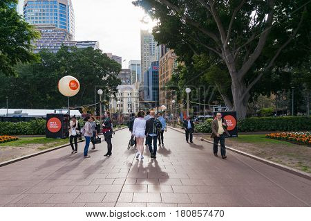 Sydney Australia - October 10 2014: People in Hyde park during Art and About Sydney festival