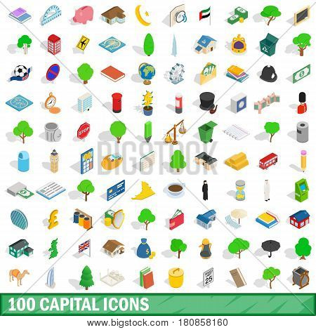 100 capital icons set in isometric 3d style for any design vector illustration