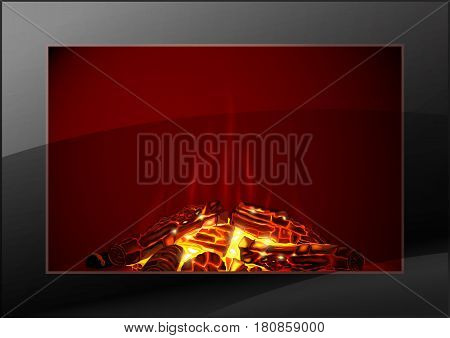The glass door of a modern fireplace in the interior. Flame of the fire. Vector graphics