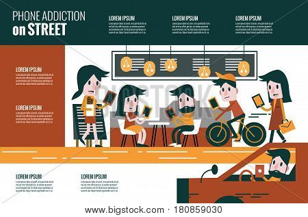 Smartphone addiction on street. flat character and infographic design. vector illustration