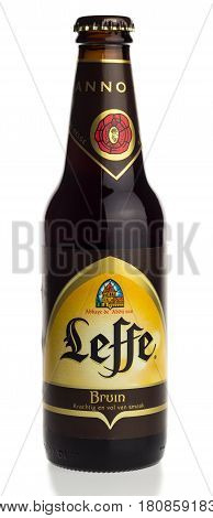 GRONINGEN, NETHERLANDS - APRIL 07, 2017: Bottle of Belgian Leffe Blond beer isolated on a white background