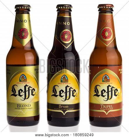GRONINGEN, NETHERLANDS - APRIL 07, 2017: Bottles of Belgian Leffe Blond, Bruin and Tripel beer isolated on a white background