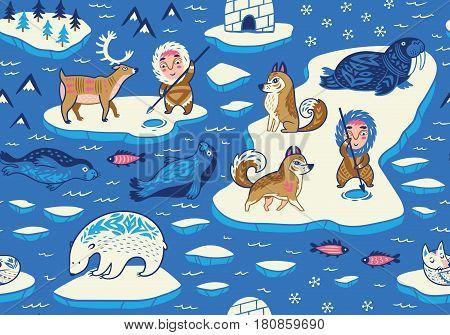North Pole seamless pattern. Inuit art. Wild animals decorative background. Vector illustration