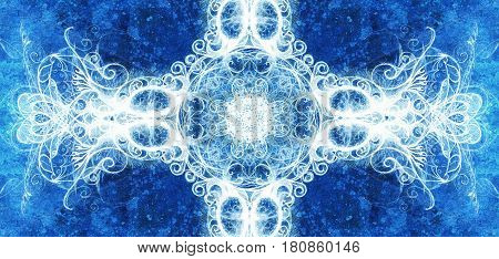 Ornamental mandala. Original hand draw and computer collage. Blue color structure. Winter effect