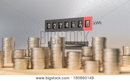 Electricity Meter With Many Coins. Expensive Energy And Power Co
