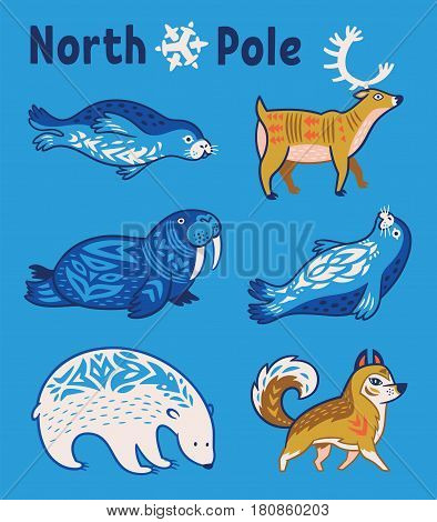 Collection of arctic animals - seals, walrus, deer, polar bear and husky. Set of polar animals with ornament in folk style. Scandinavian, Nordic style of animals
