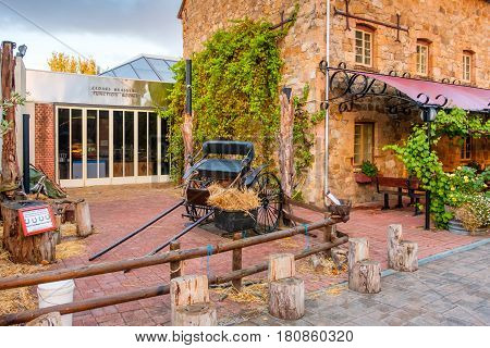 Hahndorf South Australia - April 9 2017: Horse drawn car near Old Mill Hotel of Hahndorf in Adelaide Hills area during autumn season