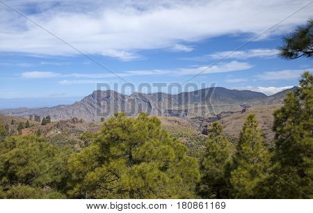 Central Gran Canaria protected area of Integral Nature Reserve Inagua view across plateau de Acusa towards Altavista
