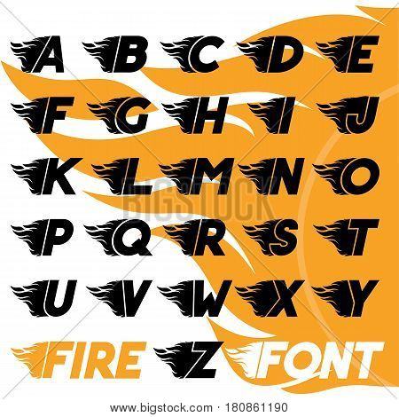 Fire and high associated speed font,  typeface symbols for logo, plackard