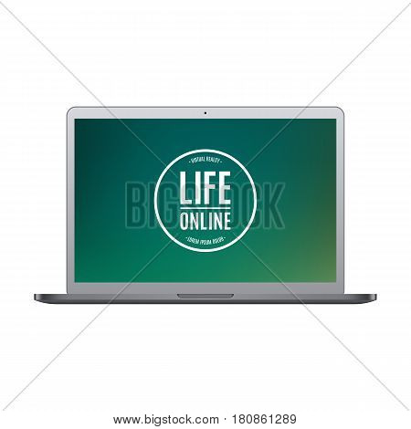 laptop grey color with colored screen isolated on white background. stock vector illustration eps10