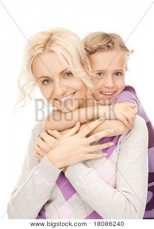 bright picture of happy mother and little girl