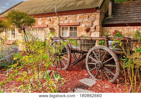 Hahndorf South Australia - April 9 2017: Old cart installed near Old Mill Hotel in the town of Hahndorf during autumn season