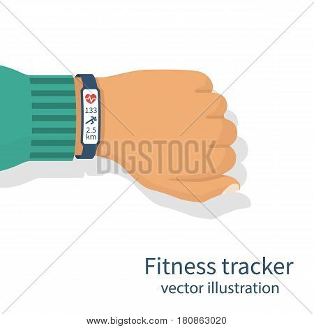 Fitness tracker on man's hand. Isolated on white background. Pulse monitor athlete. Monitoring health. Vector illustration flat design. Smart wearable device. Information on screen: pulse, distance.