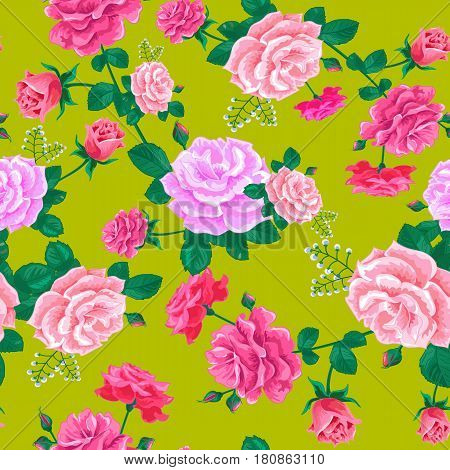 Seamless pattern with realistic pink roses on a yellow-green background.Vector illustration.Summer floral vector illustration for prints, book covers, wallpaper