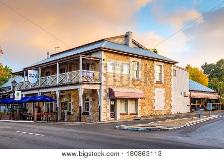 Hahndorf South Australia - April 9 2017: German Arms hotel of Hahndorf in Adelaide Hills area with cafe during autumn season after rain