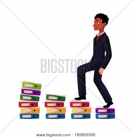 Black, African American businessman climbing piles of documents, career ladder, cartoon vector illustration isolated on white background. Folders like corporate ladder, businessman making career
