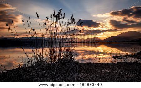 Beautiful nightsky with stars over lake Liptovska mara Slovakia.