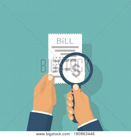 Man is studying paying bill. Hold in hand receipt, magnifying glass. Payment of utility, bank, restaurant. Concept business finance. Vector illustration flat design. Report finance, invoice, expenses.