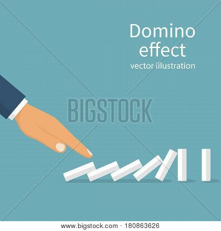 Start domino effect. Chain reaction concept. Successful intervention. Man pushes the domin. Business metaphor. Vector illustration flat design. Isolated on white background. Sabotage. Destroy system.