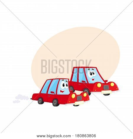 Two cute and funny red car characters racing, hurrying somewhere at full speed, cartoon vector illustration with space for text. Funny red car character, mascot racing with each other