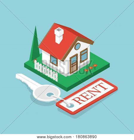 Rent house isometric design. Key with trinket. Sale property template. Vector illustration flat style. Tag as home. Isometric house on green grass. Rental estate. Cottage for sale.