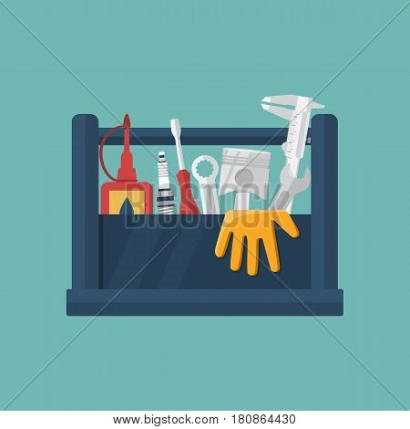 Mobile service station auto. Service center concept. Toolbox and spare parts for repair of cars. Call repairman to repair cars. Vector illustration flat design.
