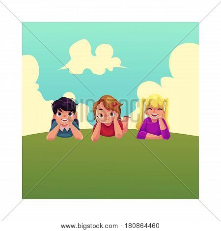 Three happy children lying on green grass under summer sky, colorful cartoon vector illustration. Kids, children, friends, girls and boys, lying on grass together, summer activity