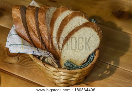 Sliced bread in a basket Rostov-on-Don Russia 6 April 2017