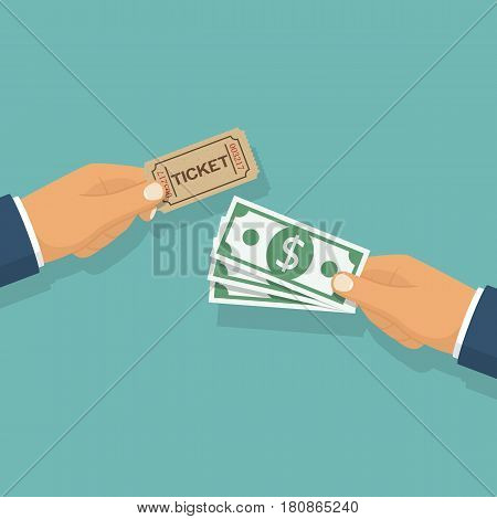Buy tickets. People holding ticket, money in hands. Sale purchase transaction. Vector illustration flat design. Isolated background. Coupon on concert, entertainment, cinema, theater, circus, museum.