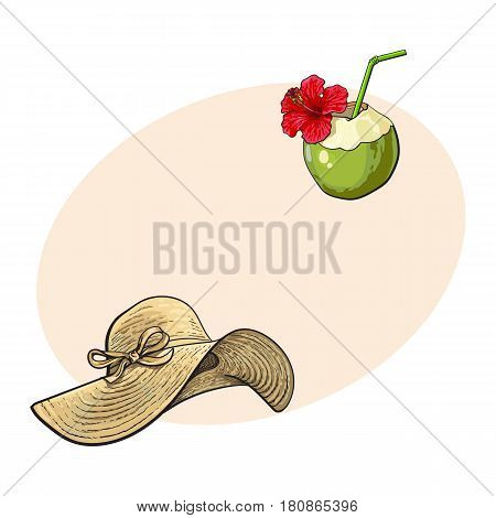 Floppy straw hat and coconut cocktail, drink, summer objects, sketch vector illustration with space for text. Hand drawn straw hat and coconut drink, summer, beach vacation
