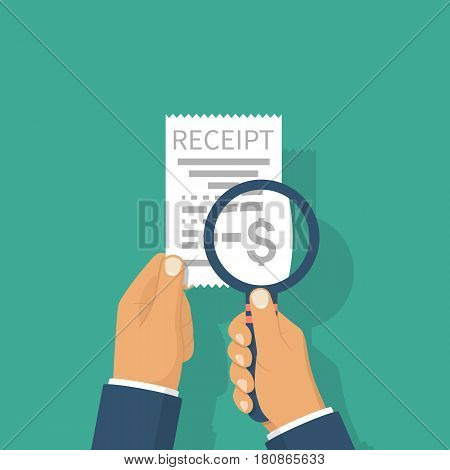 Man holding receipt. Studying paying bill, magnifying glass. Payment of utility, bank, restaurant. Concept business finance. Vector illustration flat design. Report finance, invoice, expenses.